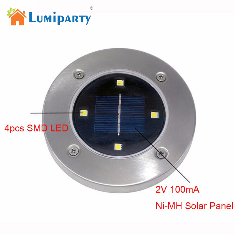 LumiParty New LED Solar Powered Underground lighting Lamp 4 LED Light Spots Outdoor Wate ...