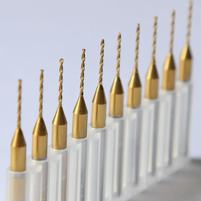 Titanium coated PCB drill, 3.175mm * 0.8mm Drill tool, 10PCS Printed circuit board Mini engraved metal, CNC router, Woodworking pcb drill tool kit 0 3mm 1 2mm 10pcs tungsten carbide metal woodworking cnc circuit board drill bit mini engraving