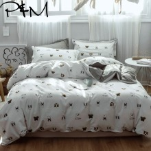 Papa&Mima Puppy dogs print Cartoon style bedding sets Cotton bedlinens Twin full Queen size pillowcases duvet cover