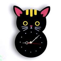 Acrylic Mute Creative Wall Clock Cat Clock Cartoon Clock for Living Room Cat Wall Clock Cat Watch