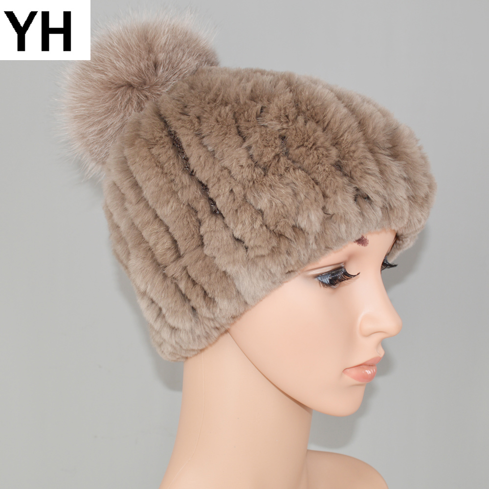 New Girls 100% Natural Real Rex Rabbit Fur Hats Winter Women Casual Rex Rabbit Fur Skullies Caps Striped Real Fur Knitted Cap
