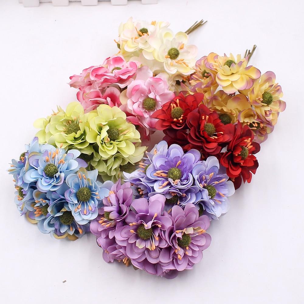 Decor Fake Bouquet Silk Cherry Blossoms Scrapbooking Wreath Artificial Flowers