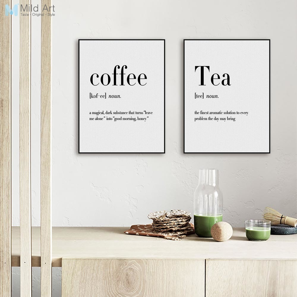Modern black white food coffee quotes a4 posters nordic for Black kitchen wall decor