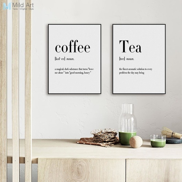 Modern black white food coffee quotes a4 posters nordic for Kitchen paintings pictures