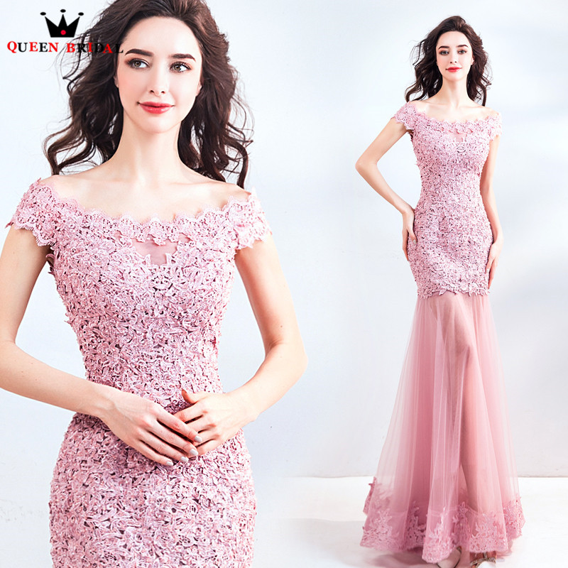 Mermaid Lace Tulle Sexy Long Elegant Pink Romantic   Evening     Dresses   2018 New Arrival Party   Dress     Evening   Gown Robe De Soiree MT42