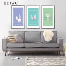 Canvas Painting Wall Picture Colourful Cute Rabbit Printing Posters Pictures for Living Room Decor DJ37