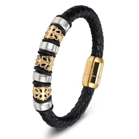 Charm Genuine Leather Bracelets & Bangles Stainless Steel Magnetic Clasps Bracelet For Women Mens Jewelry Pulsera Male Accessory Lahore