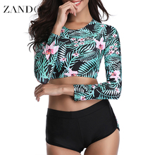 Zando Lace-up Cross Back Long sleeves Printed Bikini Set  Women Bandage Swimsuit High  Bathing Suit Summer  Swimwear Biquinis lace up back bikini set