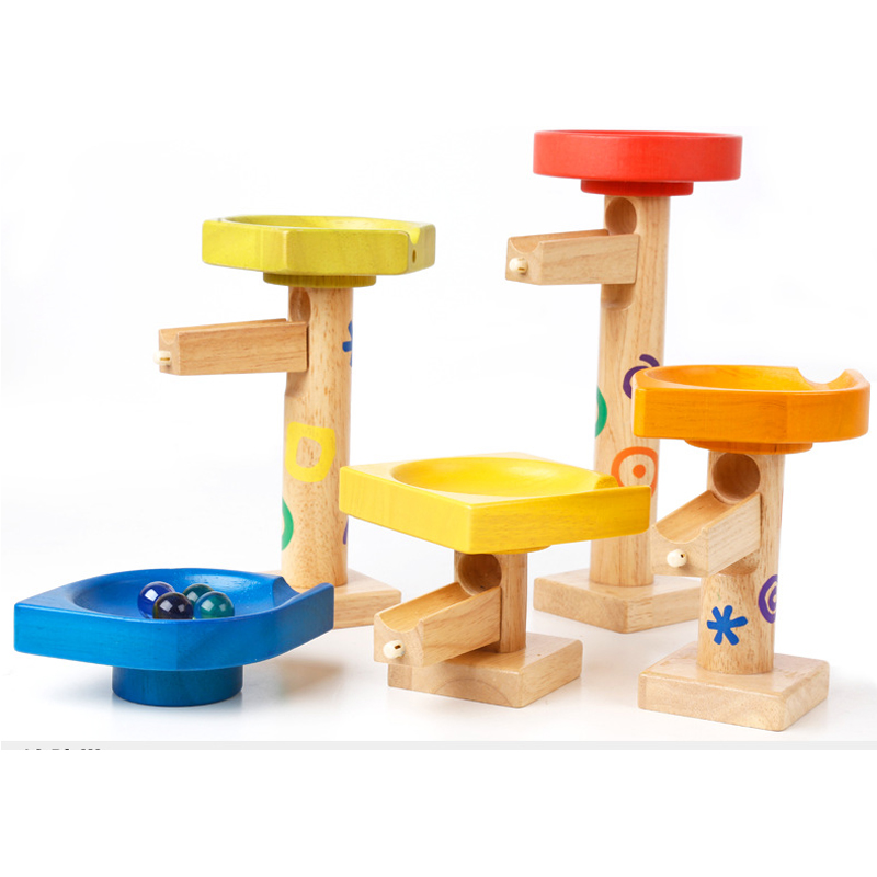Wooden Balls Tower Educational Toys For Children Montessori Teaching Aids Toy For Kids Funny Blocks Marble Running Balls Bricks delivery is free children s makeup geometric building blocks montessori teaching aids 8 sets wooden toys educational toys