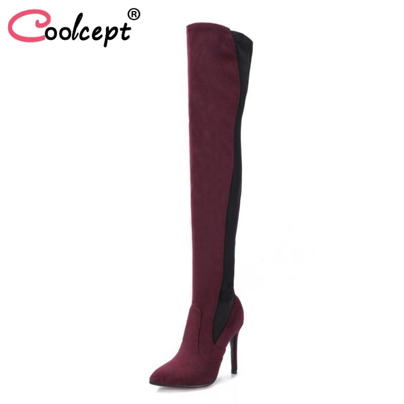 Coolcept taille 34-43 dames bottes à talons hauts talon mince bout pointu couleur mélangée bottes extensibles sur les genoux Botas chaussures pour femmes