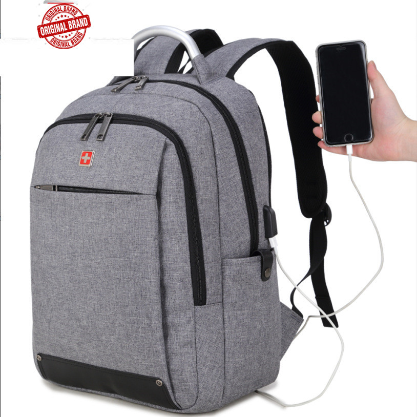 SWISSWIN Brand External USB Charge Computer Bag Anti-theft 15.6 inch black Waterproof Laptop bag