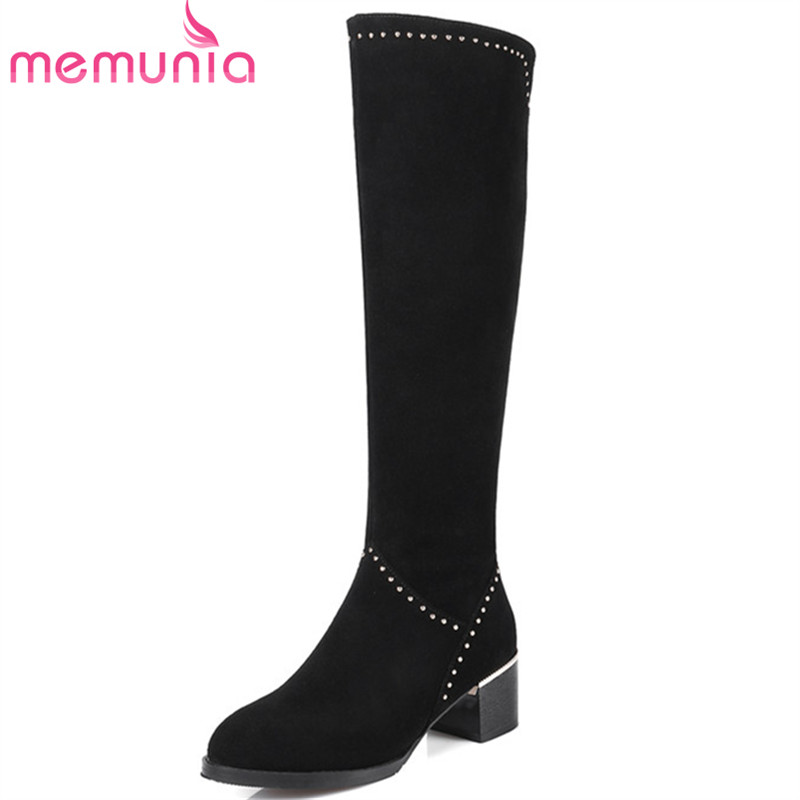 MEMUNIA Cow suede top quality shoes woman knee high boots rivets high heels shoes fashion boots spring autumn big size 34-43 memunia cow leather boots woman top quality ankle boots high heels shoes platform womens boots spring autumn black lace up