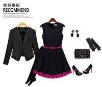 зима модное платье цвет блок тонкая талия двойной слой юбка жилет повседневная одежда, бесплатная доставка