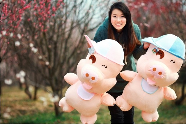 stuffed plush toy, large 100cm Mcdull pig throw pillow Christmas gift h182 plush toy happy stuffed pig with a hat