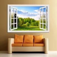 Удивительный Лес Дерево 3D стикер на стену регулируемое окно вид пейзаж обои домашний декор