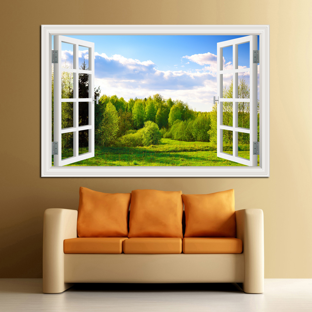 Geweldige Forest Tree 3D muursticker verwijderbare venster weergave landschap Wallpaper Home Decor