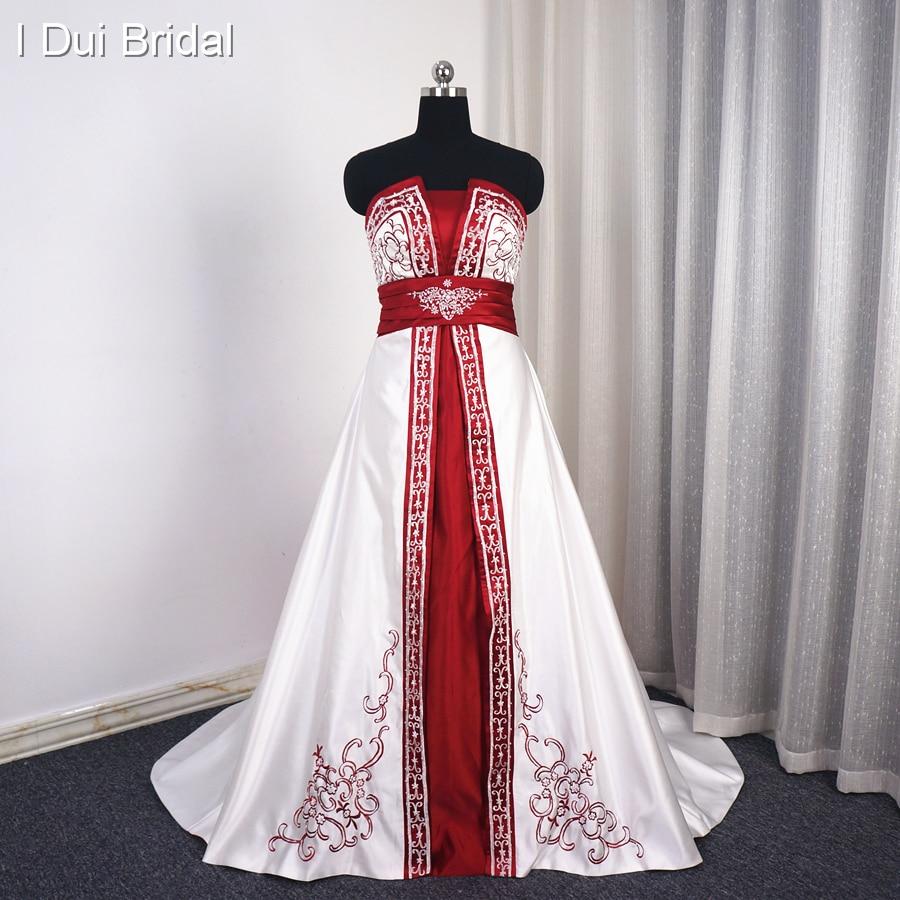 Aliexpresscom  Buy White Burgundy Satin Wedding Dress A