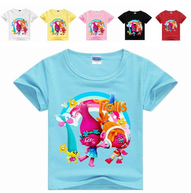 c5133a2279121 2-16Years Nununu 2018 Summer Dreamworks Trolls Poppy T Shirts for Girls T- shirt Baby Boy Tshirt Short Sleeves Fashioin Top 1121