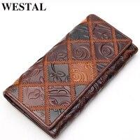 Women Wallets Long Genuine Leather Women Bag Vintage Flower Wallet Clutch Money Clip Wallet Man Leather