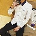 2016 Новый Мужской Рубашки Мужские Рубашки Платья мужская Мода Повседневная С Длинным Рукавом Бизнес Формальный Рубашка camisa masculina