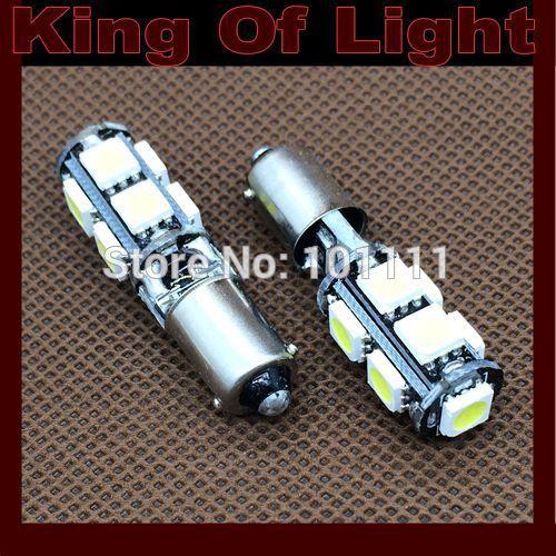 200x Free shipping Car Auto LED LIGHT BA9S 9SMD 6523 1895 H6W T4W 9 led smd 5050 CANBUS OBC ERROR FREE LED Light Bulb Lamp White
