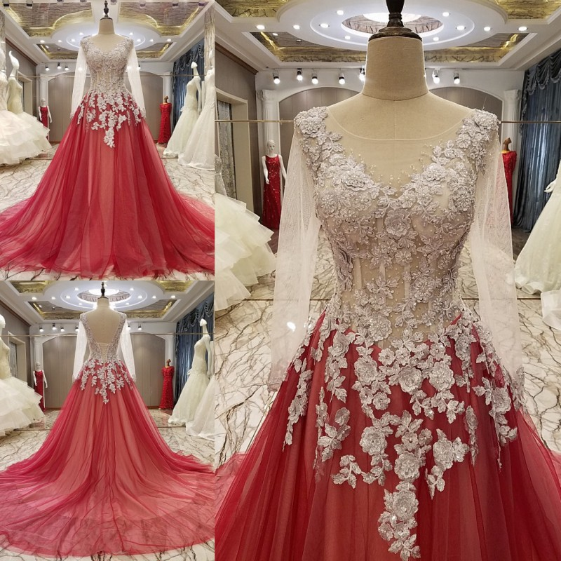 0d32ab259 Custom Size 2017 New Fashion A-line Long Sleeve Backless Beading Lace  Luxury Evening Dresses Party Dress Prom Gowns PS07