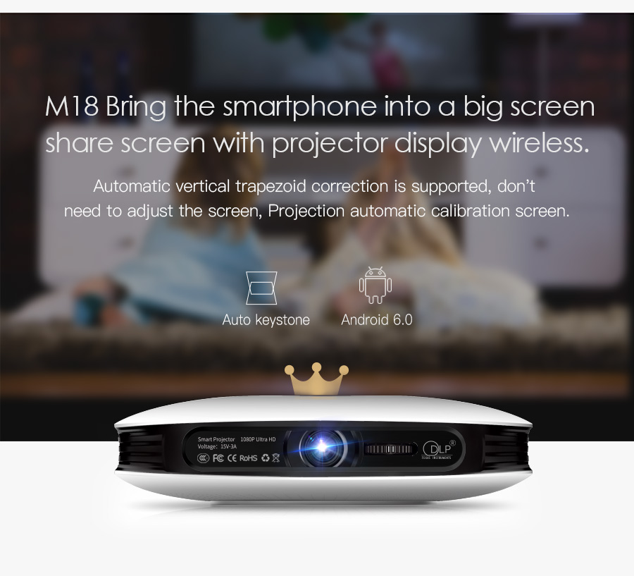 AODIN M18 Mini Projector DLP HD 3D Pocket projector HDMI 1080P 4K LED home theater projector Android 5G WIFI portable projector-10