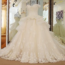 sceamout Luxury Train Wedding Dress gown Bride Dress