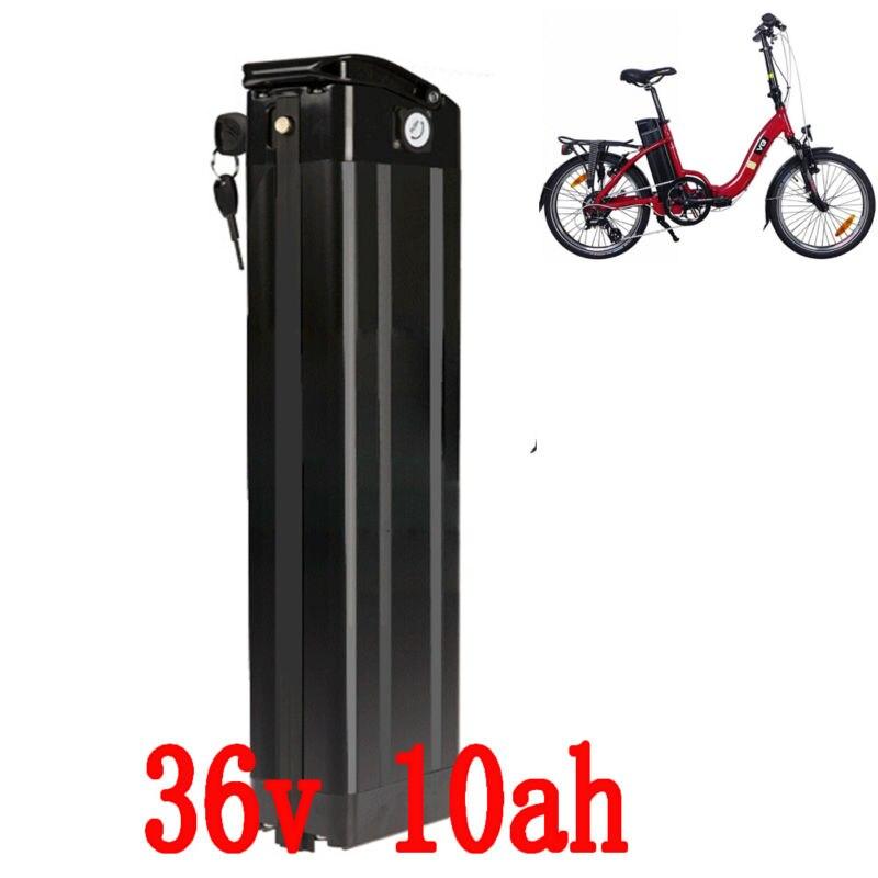 UE US AUCUN Impôt 36 v 10AH vélo électrique batterie 36 v 10AH Au Lithium ion batterie 36 v Argent Poissons batterie avec 15A BMS 42 v 2A chargeur