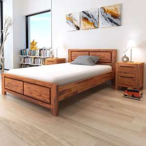 VidaXL Bed Frame Solid Acacia Wood Brown Queen Size