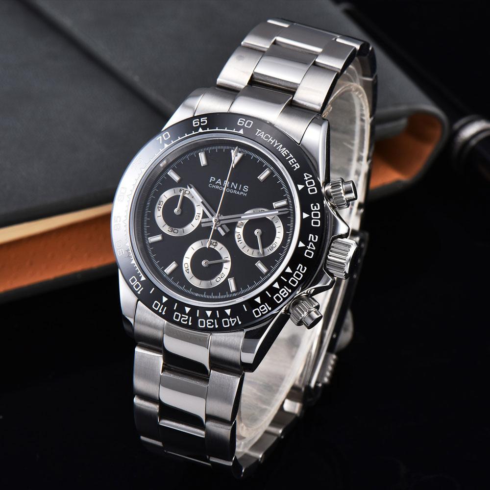 39mm PARNIS schwarz zifferblatt sapphire glas soild vollen Chronograph quarz herren uhr-in Quarz-Uhren aus Uhren bei  Gruppe 1
