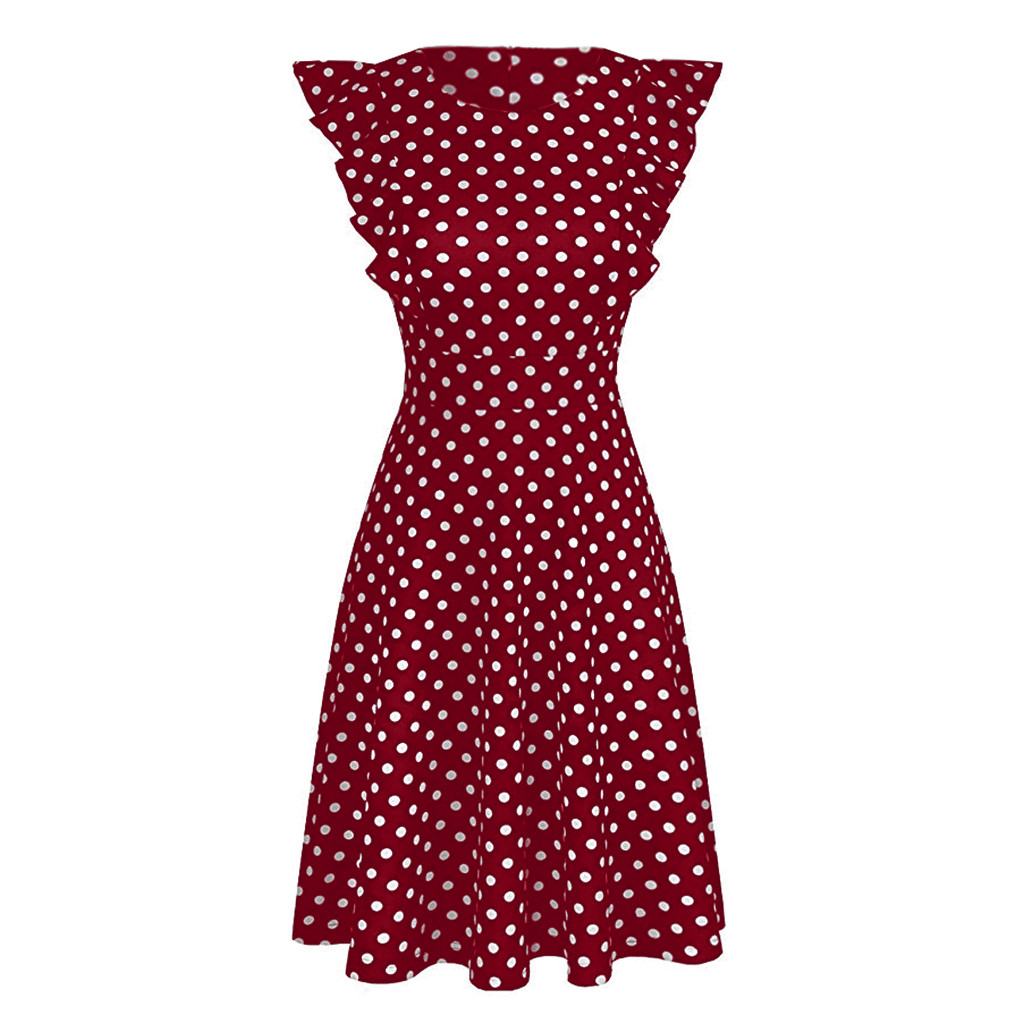 HTB1urXPRXzqK1RjSZFoq6zfcXXaH Sleeper #401 2019 NEW FASHION Women Vintage Dot Printed Ruffle Sleeveless Casual Cocktail Party Dresses casual hot Free Shipping