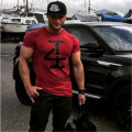 2016 shark Muscle Brothers T-shirt summer new short-sleeved T-shirt men exercise tight elastic round neck printing Slim-type