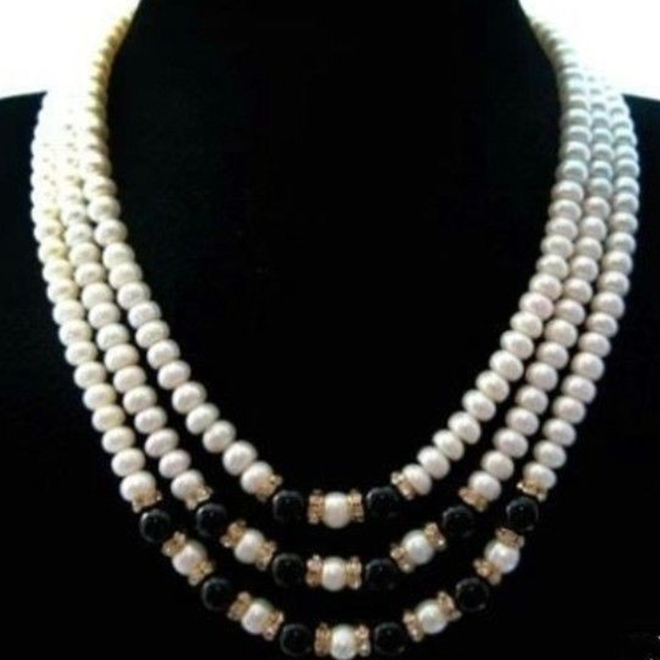Wolesale price 3 rows freshwater cultured cultured 7 8mm abacus rondelle pearl black jades necklace top quality 17 19inchMY5275