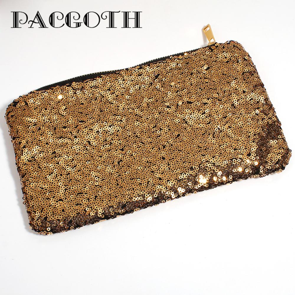 PACGOTH New Fashion Woman Rectangle Glitter Sequins Coin Purse Portable Storage Money Phone Small Things Wallet,3 Color 1 PC small great things