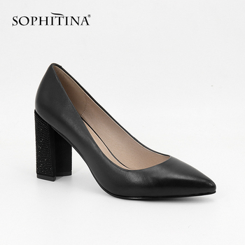 SOPHITINA Women Party Pumps Super High Hoof Heels Genuine Leather Pointed Toe Slip-On Shoes Handmade Fashion Shallow Pumps SC24