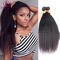 Brazilian Virgin Hair Kinky Straight Hair 2Pcs/lot Human Hair Weave Bundles 7A Coarse Yaki Kinky Straight Human Hair Extensions