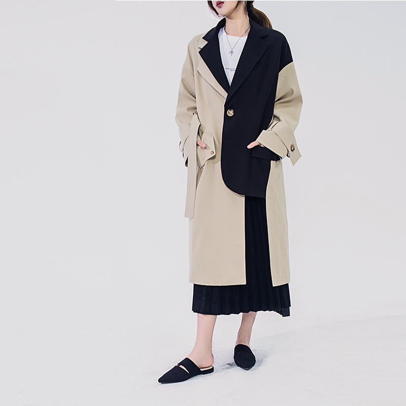 Brand Famous Runway Design 2019 patchwork   trench   coat luxury Spring fall Mid-long Khaki Belted Cloak Mujer Windbreaker