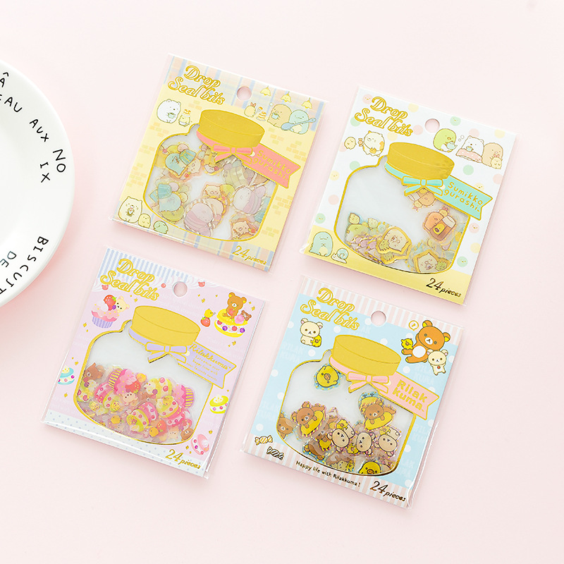 24pcs/Pack Kawaii Sumikko Gurashi Rilakkuma Gold Stamping Decorative Sticker Dairy Album DIY Craft Stick Label AM57