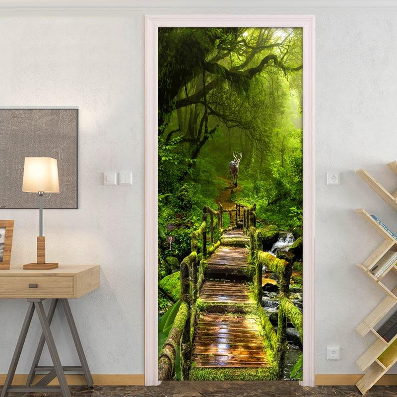 Forest Door Sticker Wall Mural 3D Photo Wallpaper For Living Room DIY Door Stickers PVC Vinyl Door Wallpaper Home Decoration 3D