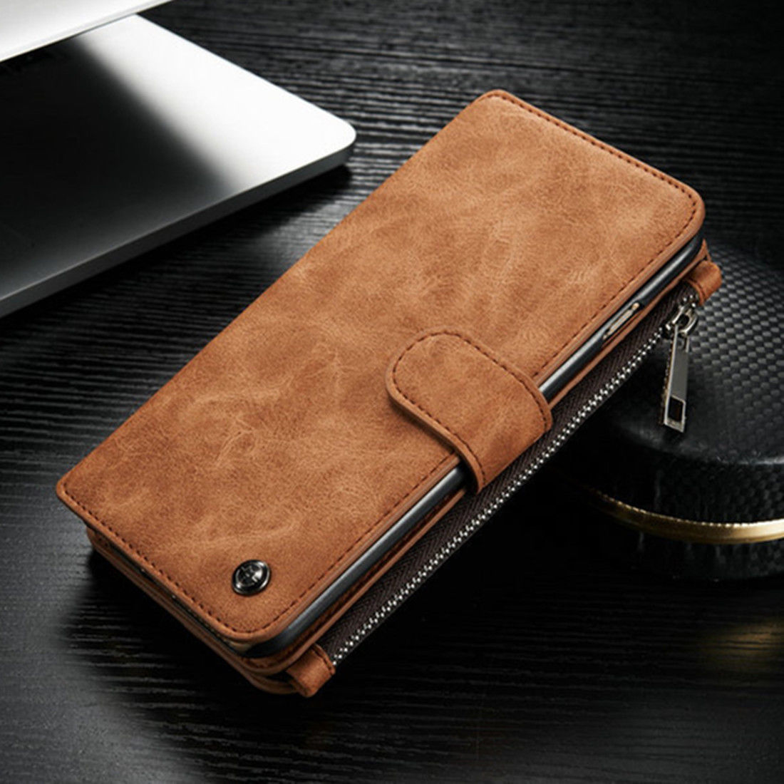 new york 5164f 1d51c US $8.54 5% OFF|Flip Zipper Men Purse Wallet Leather Luxury Case For iPhone  5s SE 6 6s 7 Plus Card Slot Holder Bag Cover For Samsung S6 S7 Edge-in ...