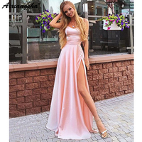 Simple Pink 2019 Prom Dresses A Line Sweetheart Spaghetti Straps Slit Satin Beautiful Evening Dresses Long Prom Gown Cheap