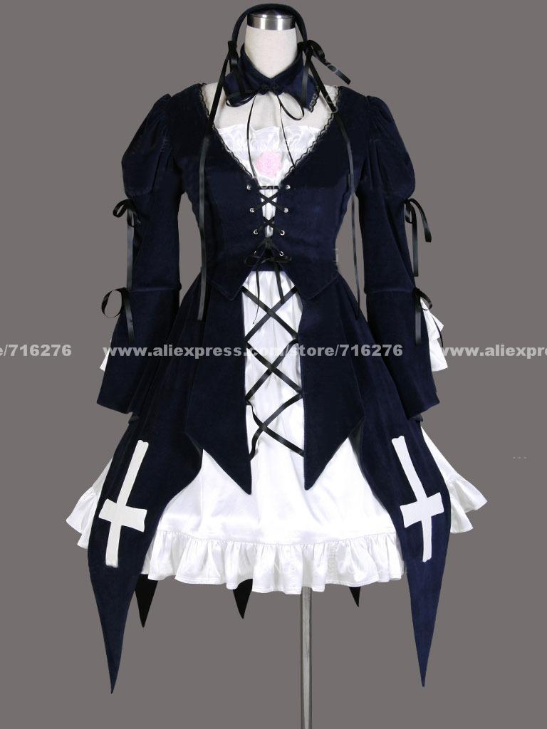 NEW Cos Rozen maiden Gothic Lolita cosplay costume Dress XXS XS S M L XL XXL XXXL Free Shipping lolita princess roll split cosplay costume wig 65cm chip on synthetic cos hair free shipping