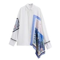 White Shirts Women 2018 Fall New Printing Asymmetry Loose Shirt New Design High Street Women's Blouse Blusas Mujer De Moda