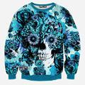 XQXON-Skulls printing men/women 3d sweatshirt print blue roses Sunflower and butterfly long sleeve hoodies autumn pullover