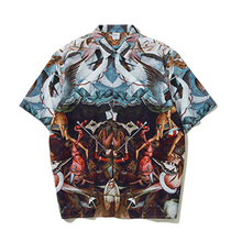 2019 Spring Summer Mens Short Sleeve Shirts Oversize Casual Funny Printed Couple high quality England Style