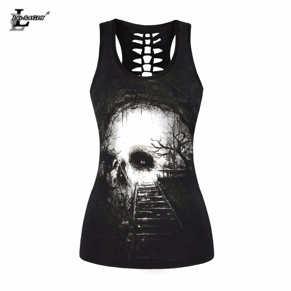 Lei-SAGLY Vintage Skull Printed Women Fitness Tank Tops Gothic Punk Style O Neck Sleeveless Tee Tight Tops Female Sporting Vest