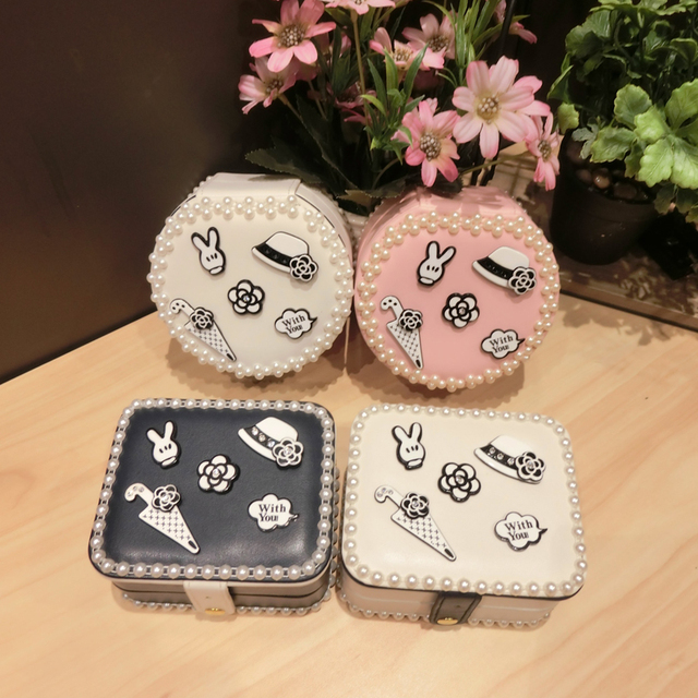 Mini Princess Jewelry Box Portable Compact Simple Jewelry Box Travel Double Layer Video Storage Box Korea Earring Boxes