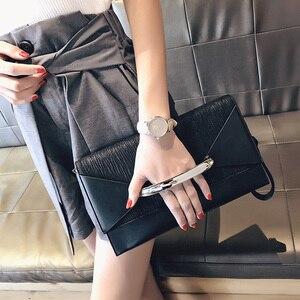 Image 1 - Клатч конверт для женщин, роскошные кожаные сумочки, вечерний клатч на день рождения для женщин, Дамский саквояж на плечо, кошелек