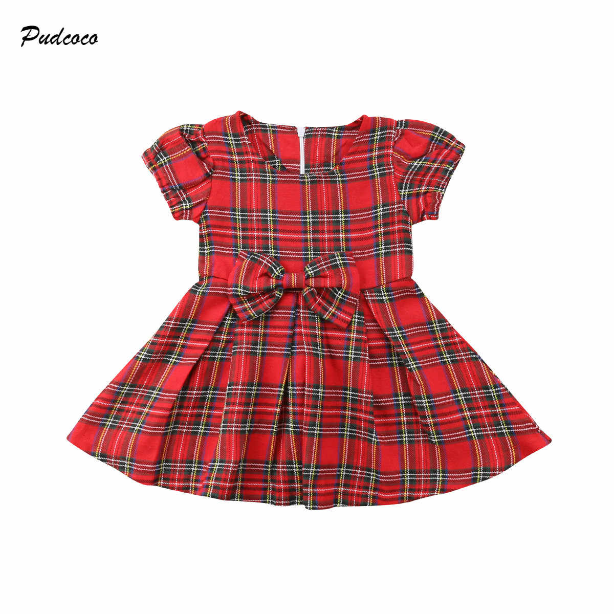 4e448c94424 Красные клетчатые Детские платья для новорожденных Рождественский для  принцессы с бантом для девочек Формальные торжества Платья